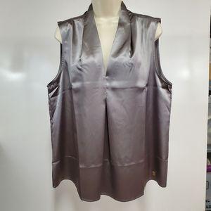 Anne Klein XL Liquid Satin Dressy Blouse Platinum